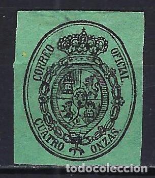1855 ESPAÑA ESCUDO - SERVICIO OFICIAL EDIFIL 37 MLH* - NUEVO LIGERA SEÑAL DE FIJASELLOS (Sellos - España - Isabel II de 1.850 a 1.869 - Nuevos)