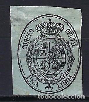 1855 ESPAÑA ESCUDO - SERVICIO OFICIAL EDIFIL 38 MH* - NUEVO CON FIJASELLOS LIGERAMENTE ARRUGADO (Sellos - España - Isabel II de 1.850 a 1.869 - Nuevos)