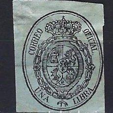 Sellos: 1855 ESPAÑA ESCUDO - SERVICIO OFICIAL EDIFIL 38 MH* - NUEVO CON FIJASELLOS LIGERAMENTE ARRUGADO. Lote 197771730