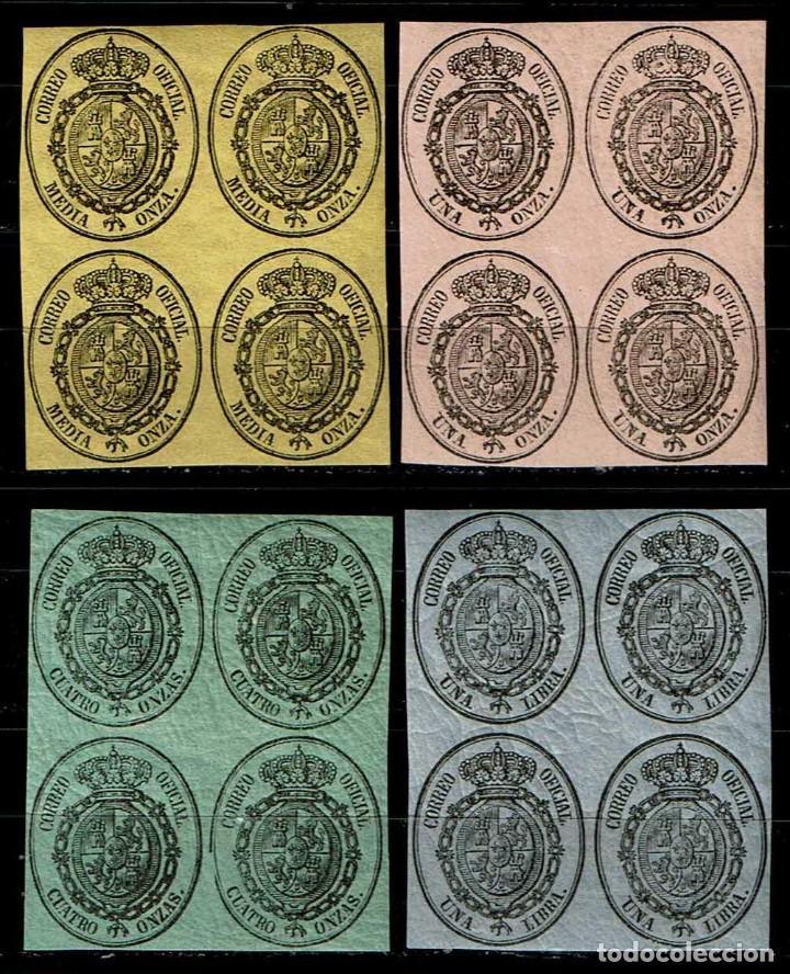 ESPAÑA 1855 - EDIFIL 35/38 (**) EN BLOQUE DE 4 (Sellos - España - Isabel II de 1.850 a 1.869 - Nuevos)