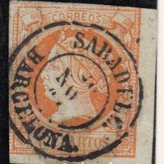 Sellos: ISABEL II - NUM. 52 MATASELLOS FECHADOR DE SABADELL - BARCELONA -. Lote 199072591