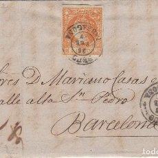 Sellos: CARTA COMPLETA CON SELLO NUM 52 - FECHADOR DE REUS - DESTINO BARCELONA - 1862. Lote 199225481