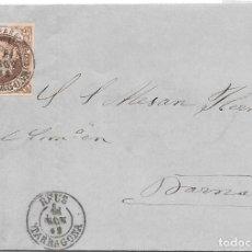Sellos: TARRAGONA. EDIFIL Nº 58. ENVUELTA DE REUS A BARCELONA. 1862. Lote 199226468