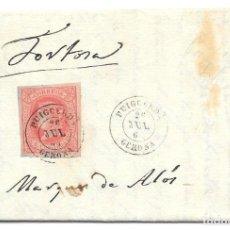 Sellos: GERONA. EDIFIL Nº 64. ENVUELTA DE PUIGCERDA A TORTOSA. 1864. Lote 199227378