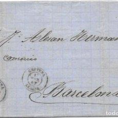 Sellos: LERIDA. EDIFIL Nº 88. ENVUELTA DE CERVERA A BARCELONA. 1867. Lote 199230838