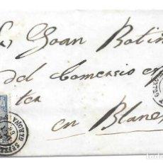 Sellos: GERONA. EDIFIL Nº 81. ENVUELTA DE SAN FELIU DE GUIXOLS A BARCELONA. 1866. Lote 199231527