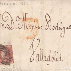 Sellos: CARTA ENTERA CON SELLO NUM 12 DE DIRECCION , IMPRENTA DE SOC.LITERARIA EN MADRID A VALLADOLID 1852. Lote 199270728
