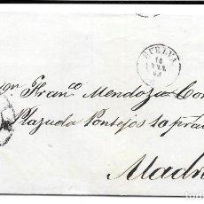 Sellos: HUELVA. RUEDA DE CARRETA Nº 28. EDIFIL 58. ENVUELTA DE HUELVA A MADRID. 1863. Lote 199756892