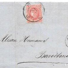 Sellos: HUESCA. RUEDA DE CARRETA Nº 29. EDIFIL 64. ENVUELTA DE HUESCA A BARCELONA. 1864. Lote 199757587