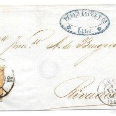 Sellos: LUGO. RUEDA DE CARRETA Nº 34. EDIFIL 52. ENVUELTA DE LUGO A RIVADEO. 1861. Lote 199763281