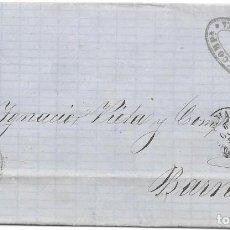 Sellos: PALMA DE MALLORCA. RUEDA DE CARRETA Nº 37. EDIFIL 48. ENVUELTA DE PALMA DE BARCELONA. 1859. Lote 199765588