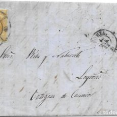 Sellos: SORIA. RUEDA DE CARRETA Nº 45. EDIFIL 52. ENVUELTA DE SORIA A ORTIGOSA. 1862. Lote 199768390