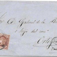 Sellos: VITORIA. RUEDA DE CARRETA Nº 48. EDIFIL 58. ENVUELTA DE VITORIA A ORTIGOSA. 1863. Lote 199769637