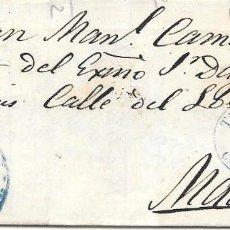 Sellos: TRUJILLO. RUEDA DE CARRETA Nº 59 AZUL. EDIFIL 48. ENVUELTA DE TRUJILLO A MADRID. 1859. Lote 199772030
