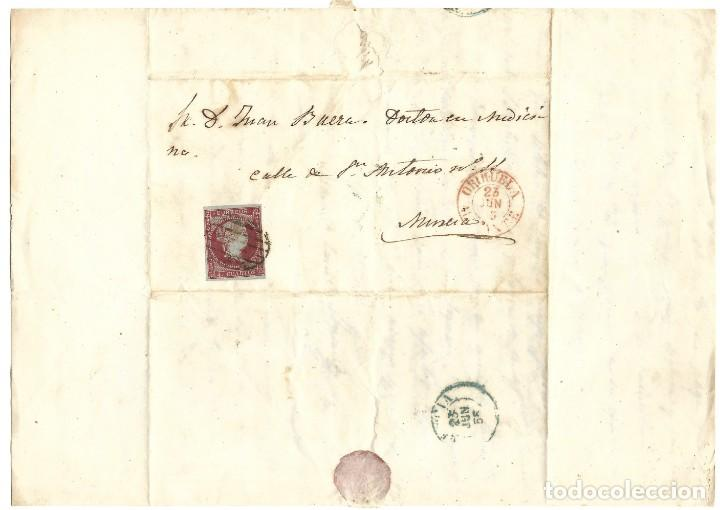 ENVUELTA CIRCULADA DE ORIHUELA (ALICANTE) A MURCIA SELLO 4 CUARTOS 1855 MATASELLO PARRILLA (Sellos - España - Isabel II de 1.850 a 1.869 - Cartas)