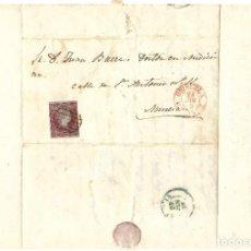 Sellos: ENVUELTA CIRCULADA DE ORIHUELA (ALICANTE) A MURCIA SELLO 4 CUARTOS 1855 MATASELLO PARRILLA. Lote 200043093