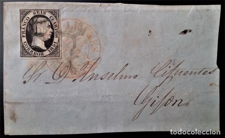ESPAÑA ISABEL II 1851 LLANES ASTURIAS BAEZA Y ARAÑA NEGRA SOBRE SELLO EDIFIL 6 FRONTAL (Sellos - España - Isabel II de 1.850 a 1.869 - Cartas)