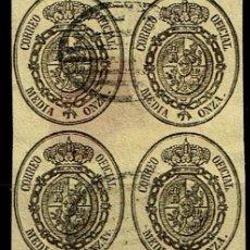 Sellos: ESPAÑA 1855 - EDIFIL 35 - USADO BL.4 MATASELLOS PARRILLA. Lote 201910155