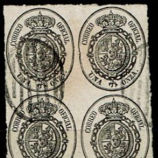 Sellos: ESPAÑA 1855 - EDIFIL 36 USADO-BLOQUE DE 4. Lote 201910455