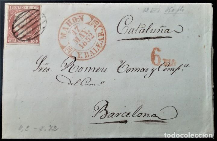 ISABEL II MAHON MENORCA ISLAS BALEARES 1852 A BARCELONA TASADA 6 MS GRAN LUJO EDIFIL 12 (Sellos - España - Isabel II de 1.850 a 1.869 - Cartas)