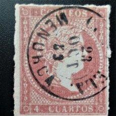 Sellos: ISABEL II CIUDADELA MENORCA BALEARES ERROR AÑO 1853 EDIFIL 48 VER IMÁGENES RARO. Lote 202444783