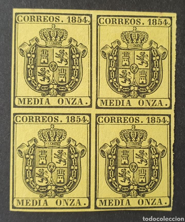 1854 ED. 28 ISABEL II. ESCUDO DE ESPAÑA. SERVICIO OFICIAL. BL 4. NUEVOS. MUY BUENOS MÁRGENES. (Sellos - España - Isabel II de 1.850 a 1.869 - Nuevos)