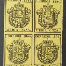 Sellos: 1854 ED. 28 ISABEL II. ESCUDO DE ESPAÑA. SERVICIO OFICIAL. BL 4. NUEVOS. MUY BUENOS MÁRGENES.. Lote 202730537