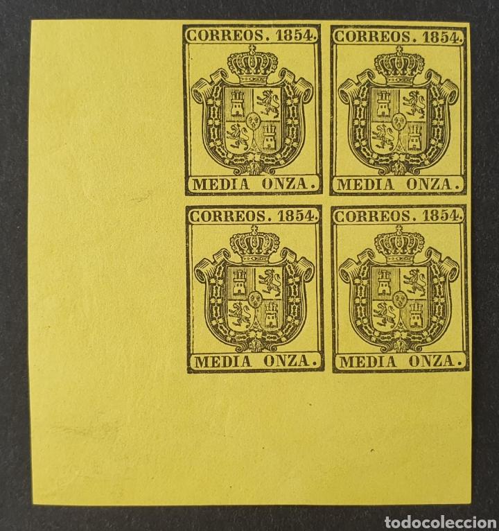 1854 ED. 28 ISABEL II. ESCUDO DE ESPAÑA. SERVICIO OFICIAL. BL 4. NUEVOS ESQUINA PLIEGO. SIN CHARNELA (Sellos - España - Isabel II de 1.850 a 1.869 - Nuevos)