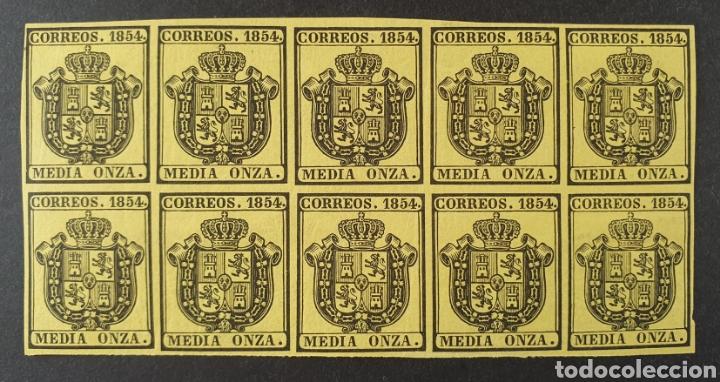 1854 ED. 28 * ISABEL II. ESCUDO DE ESPAÑA. SERVICIO OFICIAL. BL 10 NUEVOS. MUY BUENOS MÁRGENES. (Sellos - España - Isabel II de 1.850 a 1.869 - Nuevos)