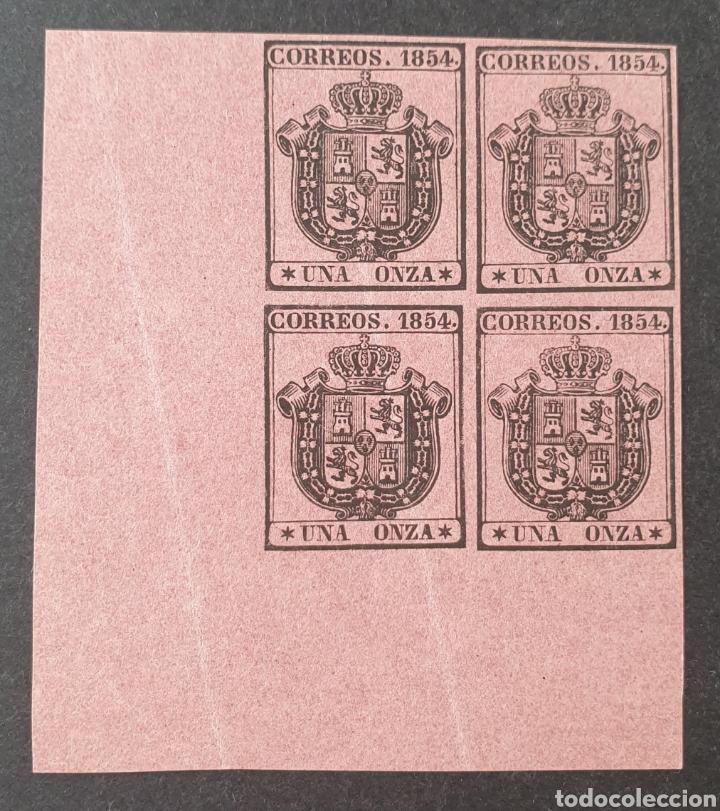 1854 ED. 29 ISABEL II. ESCUDO DE ESPAÑA. SERVICIO OFICIAL. BL 4 NUEVOS. ESQUINA DE PLIEGO. SIN CHAR (Sellos - España - Isabel II de 1.850 a 1.869 - Nuevos)