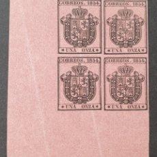 Sellos: 1854 ED. 29 ISABEL II. ESCUDO DE ESPAÑA. SERVICIO OFICIAL. BL 4 NUEVOS. ESQUINA DE PLIEGO. SIN CHAR. Lote 202832477