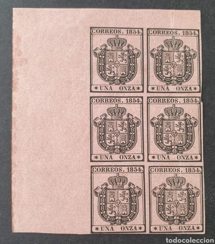 1854 ED. 29 ISABEL II. ESCUDO DE ESPAÑA. SERVICIO OFICIAL. BL 6. NUEVOS, ESQUINA PLIEGO. CON CHARNEL (Sellos - España - Isabel II de 1.850 a 1.869 - Nuevos)
