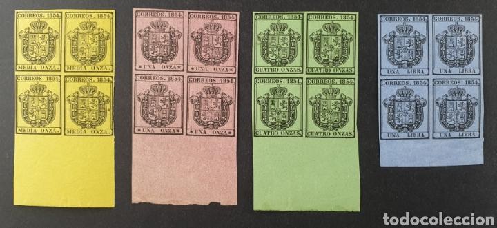 1854 ED 28/31** ISABEL II. ESCUDO DE ESPAÑA. SERVICIO OFICIAL. BL 4 NUEVOS. BORDE PLIEGO. SIN CHARNE (Sellos - España - Isabel II de 1.850 a 1.869 - Nuevos)