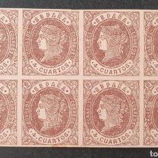Sellos: 1862 ED 58A (**). ISABEL II, 4 CUARTOS EN BLOQUE DE 8 SELLOS ,SIN CHARNELA Y CON GOMA ORIGINAL.. Lote 202918012