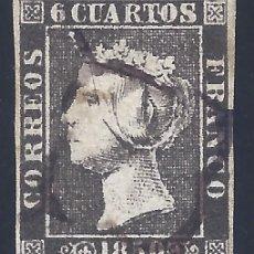 Sellos: EDIFIL 1A. ISABEL II. AÑO 1850. MATASELLOS DE ARAÑA NEGRA. PAPEL GRUESO. LUJO.. Lote 203046725