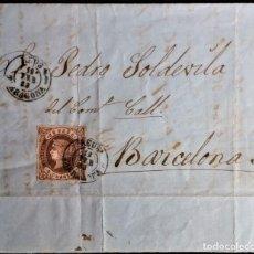 Sellos: ISABEL II REUS TARRAGONA CATALUÑA 1863 A BARCELONA PAPEL PUBLICITARIO CASA HERMANOS. Lote 203352301