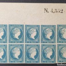 Sellos: 1855 ED 49** 1 REAL ISABEL II. BLOQUE DE 10 SELLOS NUEVOS SIN CHARNELA Y GOMA ORIGINAL.SIN FILIGRANA. Lote 203546708