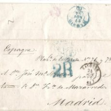 Sellos: ESPAÑA.AÑO 1854.BAYONA - MADRID.. Lote 203636181