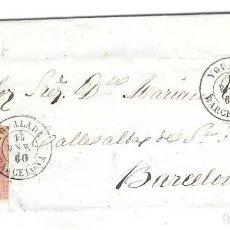 Sellos: CATALUÑA BARCELONA. EDIFIL 48. ENVUELTA DE IGUALADA A BARCELONA. 1860. Lote 204403493