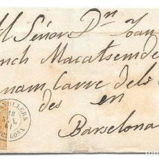 Sellos: CATALUÑA BARCELONA. EDIFIL 52. ENVUELTA DE GRANOLLERS A BARCELONA. 1861. Lote 204404997