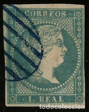 EDIFIL 49 PARRILLA AZUL (Sellos - España - Isabel II de 1.850 a 1.869 - Usados)