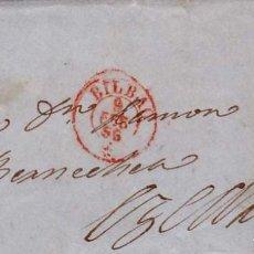Sellos: AÑO 1856 EDIFIL 44 ISABEL II ENVUELTA A EZCARAY MATASELLOS REJILLA Y ROJO BILBAO. Lote 204708553
