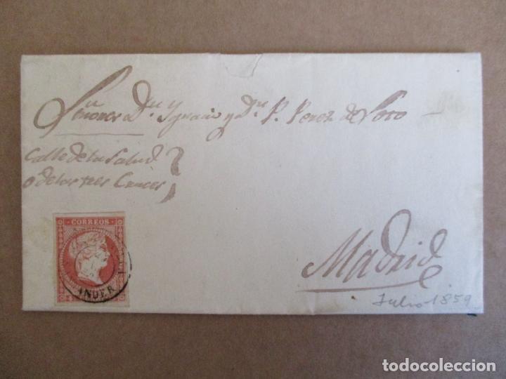 CIRCULADA Y ESCRITA 1859 DE TORRELAVEGA SANTANDER A MADRID (Sellos - España - Isabel II de 1.850 a 1.869 - Cartas)