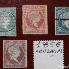 Sellos: PRIMER CENTENARIO-1855 -SIN DENTAR - FILIGRANA LINEAS CRUZADAS - ISABEL II - EDIFIL 43-44-45-46 -.. Lote 204990432
