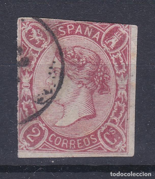 ESPAÑA.- SELLO Nº 69 MATASELLADO CON MARGEN TOCADO (EL DE LA FOTO) (Sellos - España - Isabel II de 1.850 a 1.869 - Usados)