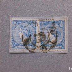 Sellos: ESPAÑA - 1867 - ISABEL II - EDIFIL 81 - PAREJA SOBRE FRAGMENTO - BONITOS.. Lote 205042395