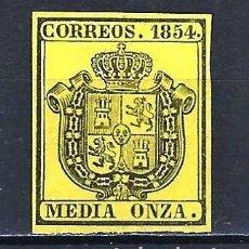 Sellos: 1854 ESPAÑA ESCUDO EDIFIL 28 MLH* NUEVO LIGERA SEÑAL DE FIJASELLOS SIN GOMA. Lote 205351672