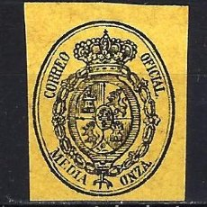 Sellos: 1855 ESPAÑA ESCUDO EDIFIL 35 MLH* NUEVO LIGERA SEÑAL DE FIJASELLOS SIN GOMA. Lote 205352227
