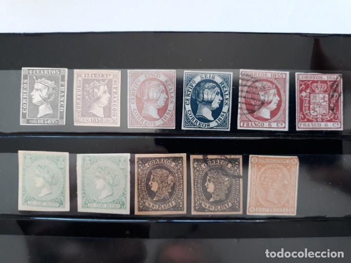 LOTE 11 SELLOS CLASICOS FALSOS EN NUEVO Y USADOS (Sellos - España - Isabel II de 1.850 a 1.869 - Nuevos)