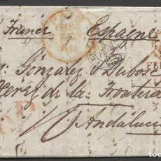 Sellos: 1854 INGLATERRA A JEREZ DE LA FRONTERA. MARCAS PAID Y P.F. EN CIRCULO. PORTEO 10 R. Lote 205723503
